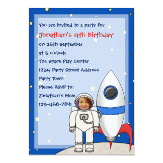 Astronaut and Rocketship Kids Photo Birthday Party Card