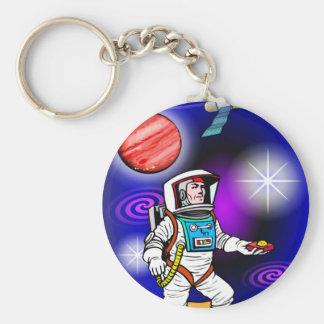 astronaut basic round button keychain