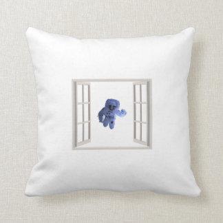 Astronaut behind the window throw pillow