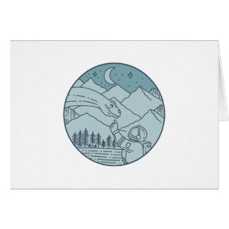 Astronaut Brontosaurus Moon Stars Mountains Circle Card