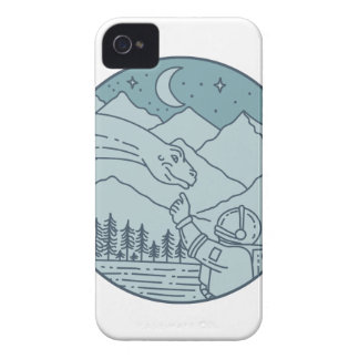 Astronaut Brontosaurus Moon Stars Mountains Circle Case-Mate iPhone 4 Cases