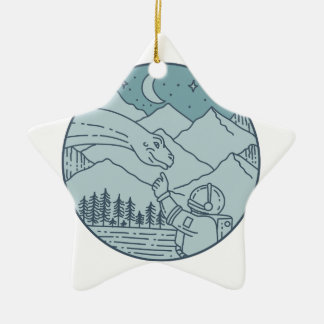 Astronaut Brontosaurus Moon Stars Mountains Circle Ceramic Ornament