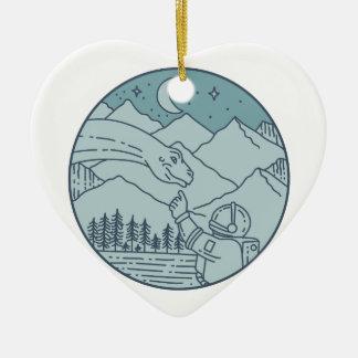 Astronaut Brontosaurus Moon Stars Mountains Circle Ceramic Ornament