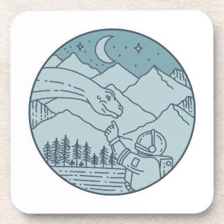 Astronaut Brontosaurus Moon Stars Mountains Circle Coaster