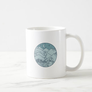 Astronaut Brontosaurus Moon Stars Mountains Circle Coffee Mug