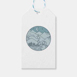 Astronaut Brontosaurus Moon Stars Mountains Circle Gift Tags