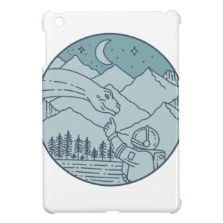 Astronaut Brontosaurus Moon Stars Mountains Circle iPad Mini Cover