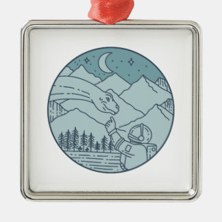 Astronaut Brontosaurus Moon Stars Mountains Circle Metal Ornament