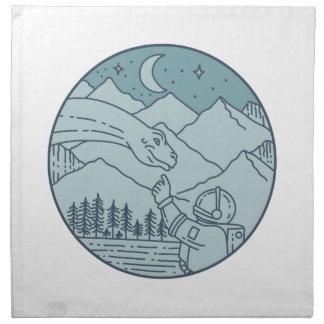 Astronaut Brontosaurus Moon Stars Mountains Circle Napkin