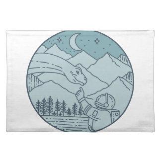 Astronaut Brontosaurus Moon Stars Mountains Circle Placemat