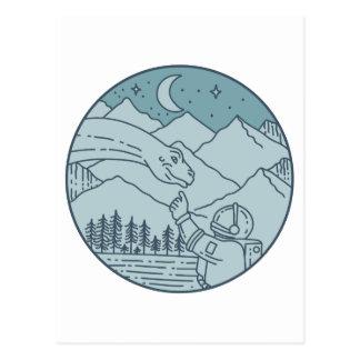 Astronaut Brontosaurus Moon Stars Mountains Circle Postcard