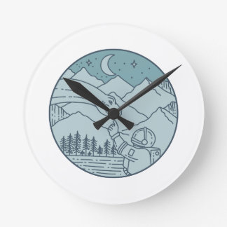 Astronaut Brontosaurus Moon Stars Mountains Circle Round Clock