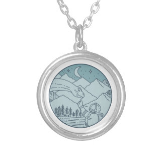 Astronaut Brontosaurus Moon Stars Mountains Circle Silver Plated Necklace
