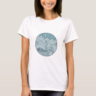 Astronaut Brontosaurus Moon Stars Mountains Circle T-Shirt