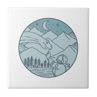 Astronaut Brontosaurus Moon Stars Mountains Circle Tile