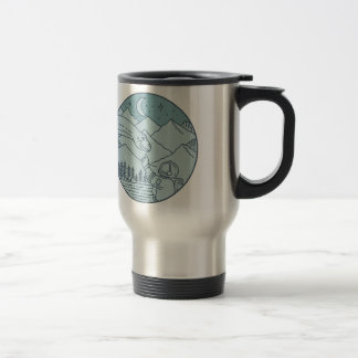 Astronaut Brontosaurus Moon Stars Mountains Circle Travel Mug