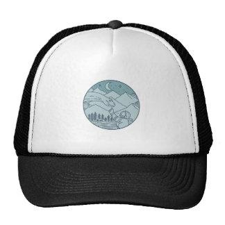 Astronaut Brontosaurus Moon Stars Mountains Circle Trucker Hat