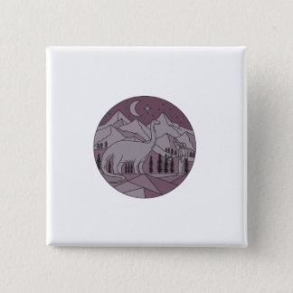 Astronaut Brontosaurus Mountain Moon Circle Mono L 2 Inch Square Button