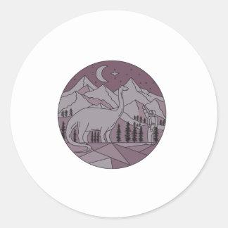 Astronaut Brontosaurus Mountain Moon Circle Mono L Classic Round Sticker