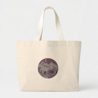 Astronaut Brontosaurus Mountain Moon Circle Mono L Large Tote Bag