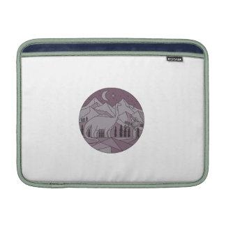 Astronaut Brontosaurus Mountain Moon Circle Mono L MacBook Sleeves