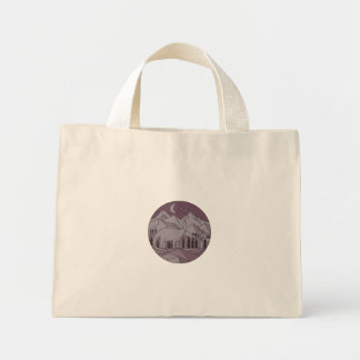 Astronaut Brontosaurus Mountain Moon Circle Mono L Mini Tote Bag