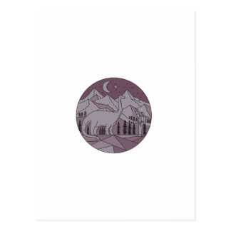 Astronaut Brontosaurus Mountain Moon Circle Mono L Postcard