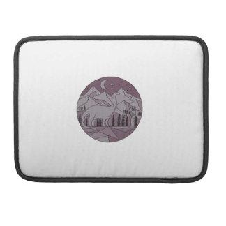 Astronaut Brontosaurus Mountain Moon Circle Mono L Sleeve For MacBooks