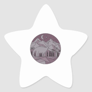 Astronaut Brontosaurus Mountain Moon Circle Mono L Star Sticker
