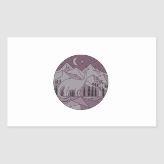 Astronaut Brontosaurus Mountain Moon Circle Mono L Sticker