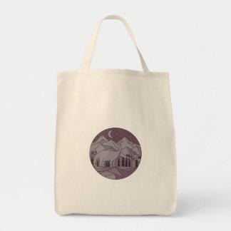 Astronaut Brontosaurus Mountain Moon Circle Mono L Tote Bag