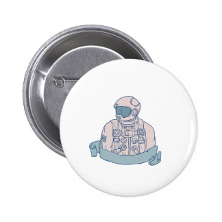 Astronaut Bust Ribbon Drawing 2 Inch Round Button