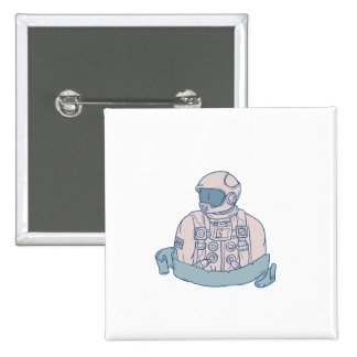 Astronaut Bust Ribbon Drawing 2 Inch Square Button