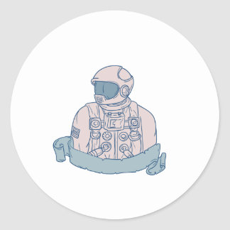 Astronaut Bust Ribbon Drawing Classic Round Sticker