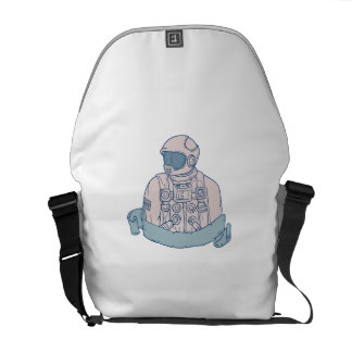 Astronaut Bust Ribbon Drawing Courier Bag