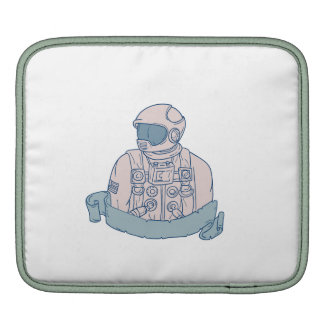 Astronaut Bust Ribbon Drawing Sleeves For iPads
