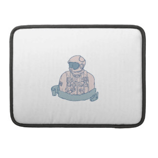 Astronaut Bust Ribbon Drawing Sleeves For MacBooks
