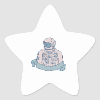 Astronaut Bust Ribbon Drawing Star Sticker
