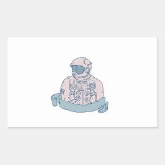 Astronaut Bust Ribbon Drawing Sticker