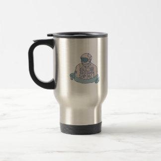 Astronaut Bust Ribbon Drawing Travel Mug