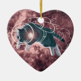 Astronaut Cat Kitten Funny Cosmos Ceramic Heart Ornament