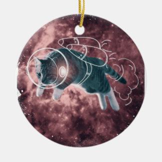 Astronaut Cat Kitten Funny Cosmos Round Ceramic Ornament