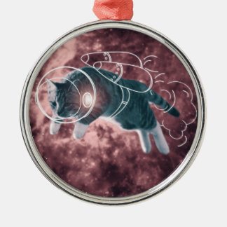 Astronaut Cat Kitten Funny Cosmos Silver-Colored Round Ornament