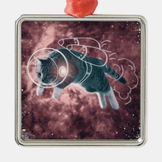 Astronaut Cat Kitten Funny Cosmos Silver-Colored Square Ornament
