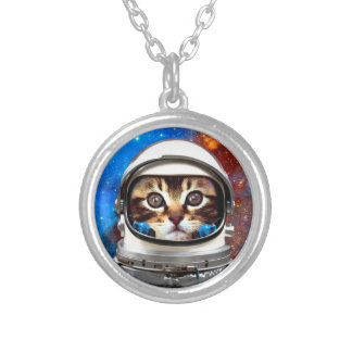 Astronaut Cat Silver Plated Necklace