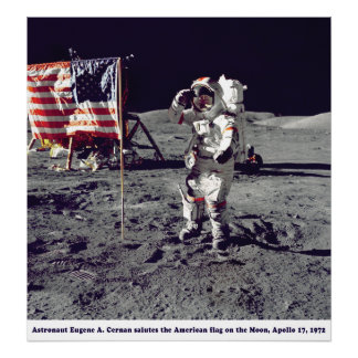 Astronaut Cernan on the Moon Apollo 17 1972 Poster