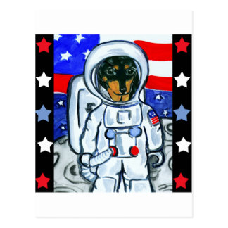 Astronaut dachshund postcard