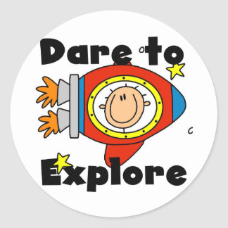 Astronaut Dare to Explore Tshirts and Gifts Classic Round Sticker