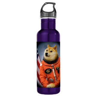 astronaut dog  - doge - shibe - doge memes 710 ml water bottle