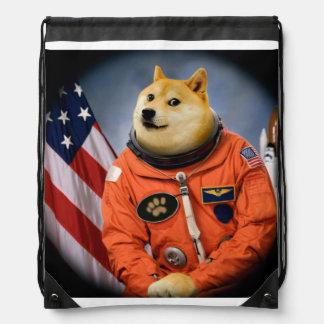 astronaut dog  - doge - shibe - doge memes drawstring bag